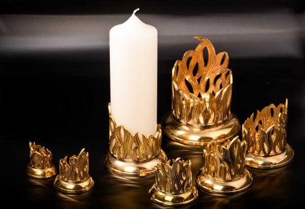Leuchter Flammen Design Messing versch.Größen
