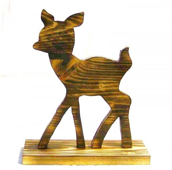 Dekofigur Bambi 25x30cm aus Holz beflammt, Landhausstil