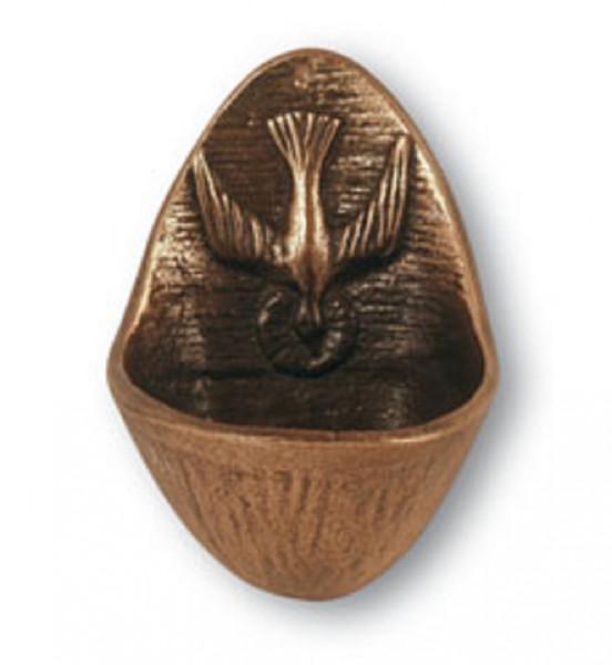 Weihwasserkessel aus Bronze - mit Motiv Taube
