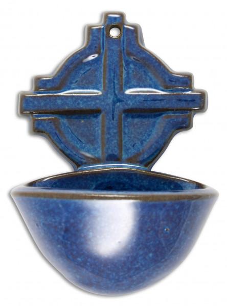 Weihbecken Keramik blau Lagune doppelt glasiert