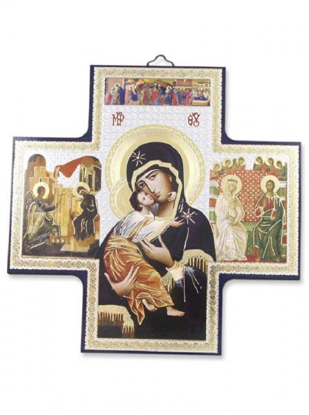 Ikone Madonna auf Holzplatte 15 x 15cm 04/48