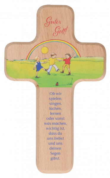 Kinderholzkreuz - Kreuz Motiv Regenbogen - Segen