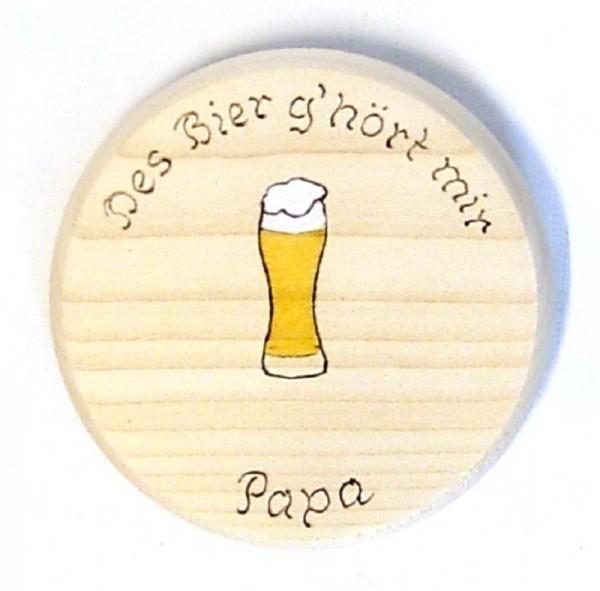 Bierdeckel aus Holz mit Spruch des Bier g'hört mir