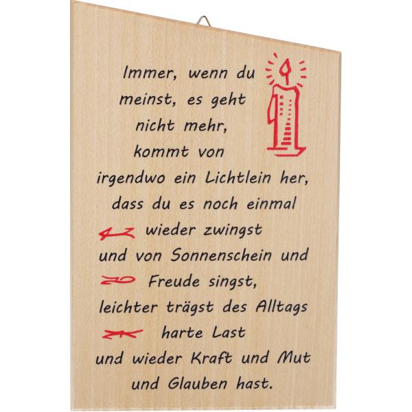 Spruchtafel Ahornholz, immer wenn du... A186