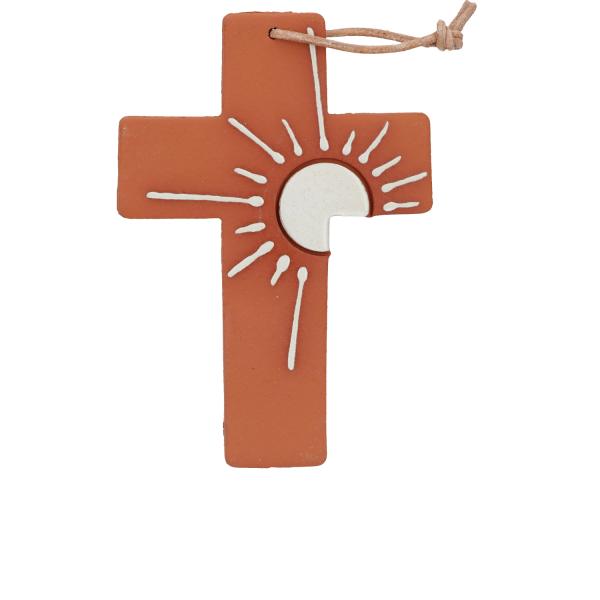 Tonkreuz handgefertigt mit Motiv Sonne