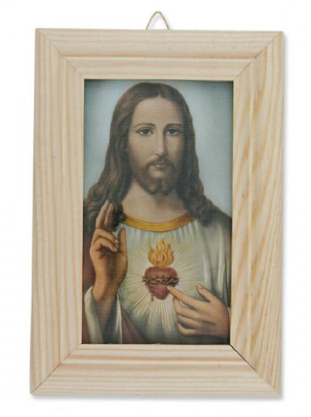 Bild Herz Jesu heller Holzrahmen 13 x 8,5cm, 79/60