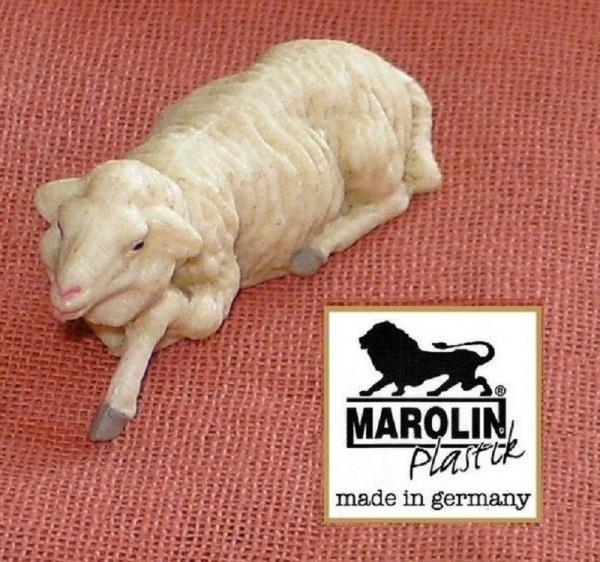 Schaf liegend, Größe 7cm Marolin Plastik Figur