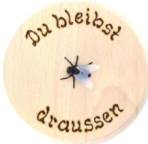 Bierdeckel aus Holz mit Spruch u. Fliege Kunststoff