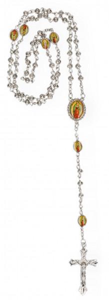 Rosenkranz gekettelt - Metallperlen, Maria-Plaketten