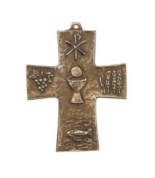 Kreuz aus Bronze - Symbolkreuz mit Kelch