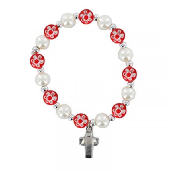 Armband mit Blumenperlen Kunststoff, Metallkreuz