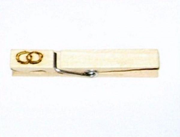 Holzklammer mit Motiv Eheringe, einseitig