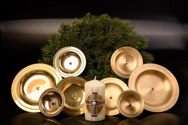 Adventskranzteller Messing, poliert oder matt