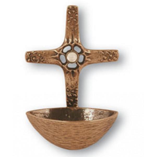 Weihwasserkessel aus Bronze - mit Bergkristall