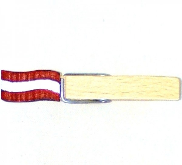 Holzklammer mit Flagge, Fahne Österreich, Holzapplikation