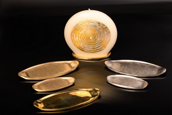Kerzenteller oval, Messing matt-poliert, oder vernickelt