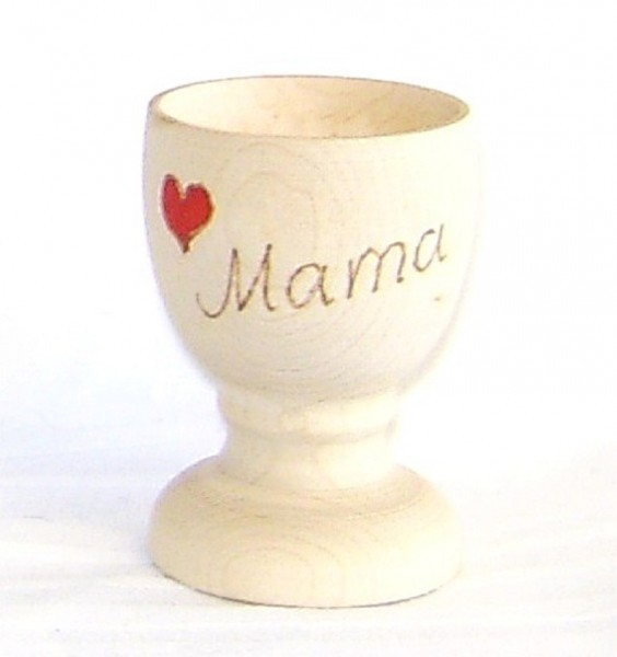 Eierbecher Holz, mit Herz und Name individuell mit Brandmalerei