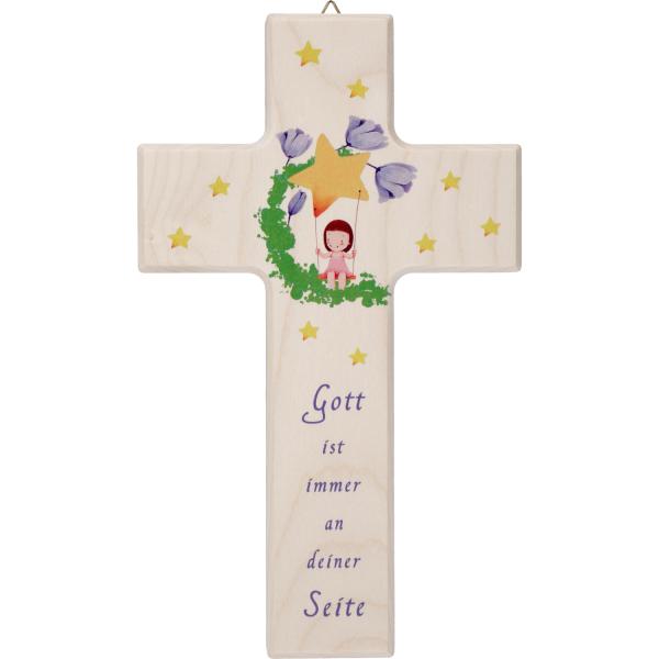 Kinderkreuz Holz, weiß, Schaukel - Gott ist immer