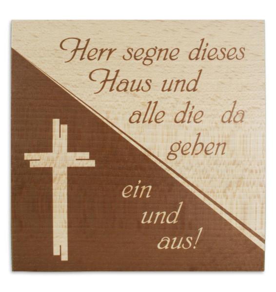 Haussegen Holz bedruckt, Buche Motiv Kreuz 51/27