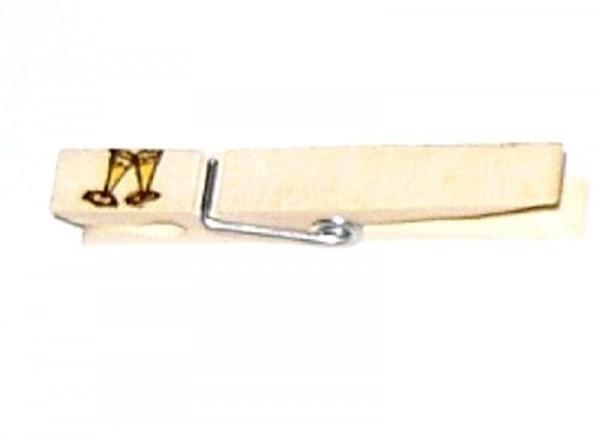 Wiesnglupperl Holzklammer mit Motiv Sektgläser, einseitig