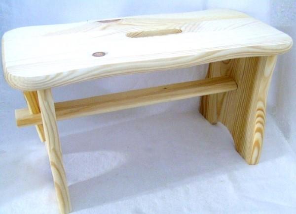 Fußbank,Schemel klein, aus Holz Fichte natur