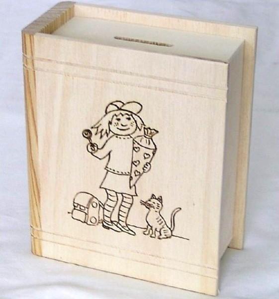 Sparbuch Holz mit Brandmotiv Mädchen mit Schultüte