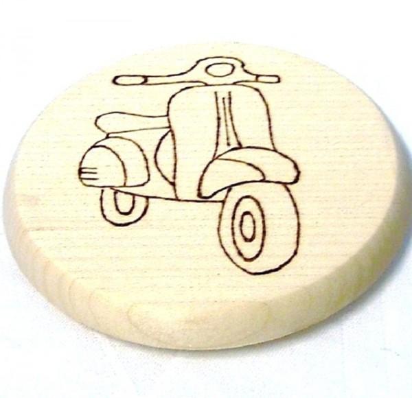 Bierdeckel Holz mit Brandmalerei Brandmotiv Vespa Roller