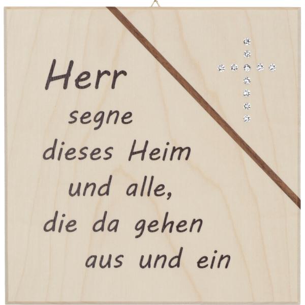 Haussegen Ahorn mit Kristallstein Kreuz, 12HS