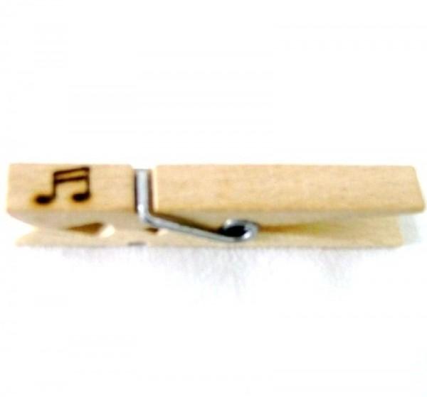 Wiesnglupperl Holzklammer mit Motiv Musiknote, einseitig