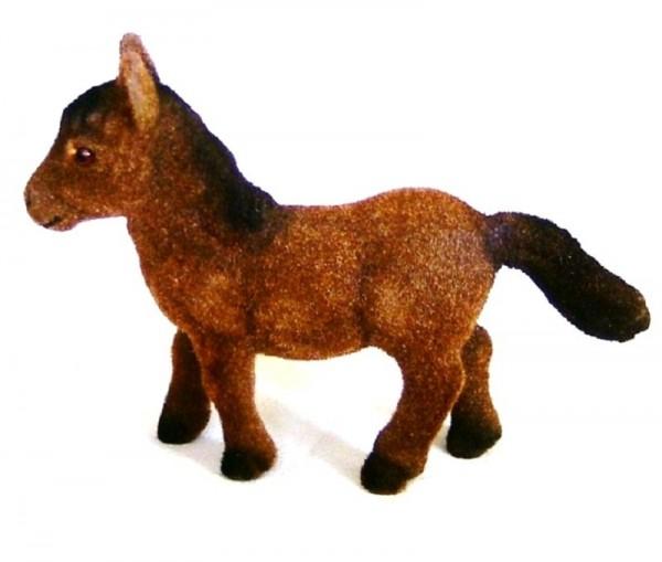 Pony, Miniatur Dekofigur beflockt Tierfigur aus Plastik