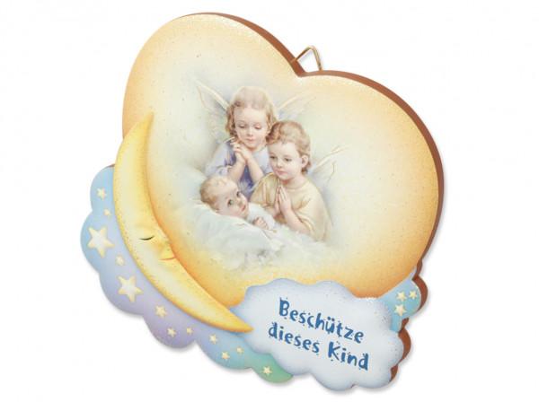 Engel-Bild Baby mit 2 Engel auf Mond 10x9cm