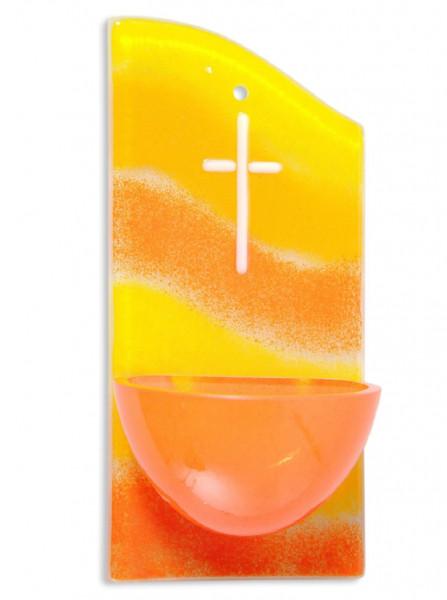 Weihwasserkessel Glas gelb/orange, Kreuz weiss