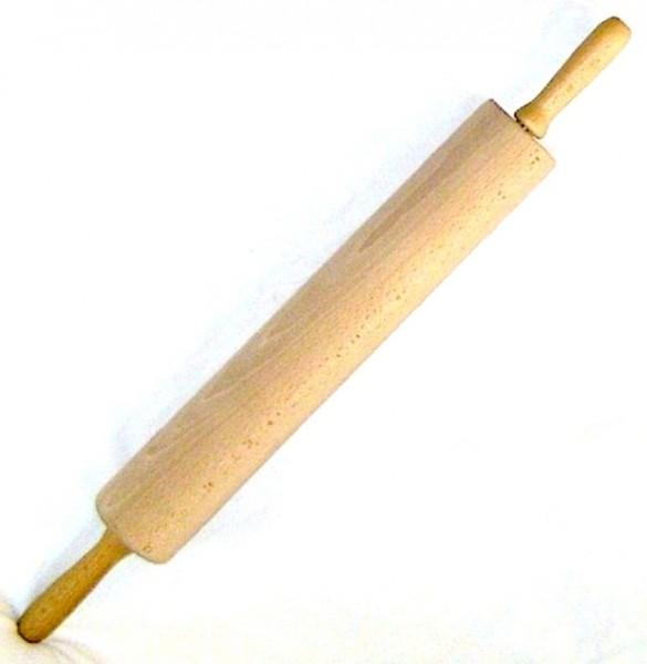 Nudelholz aus Holz, Teigrolle 38x6cm mit Stahlachse