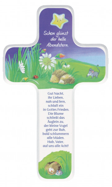 Kinderholzkreuz - Kreuz Motiv u Gute-Nacht Gebet