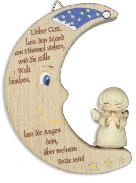 Holzmond mit geschn. Engel, Lieber Gott, 12cm