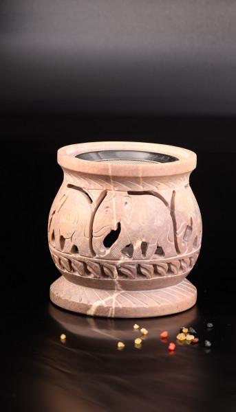 Räucherstövchen Speckstein mit Motiv Elefant (Farben des Natursteins können variieren)