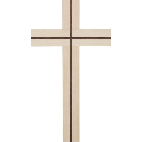 Kreuz Holz-Ahorn, mit Einlage Nussbaum