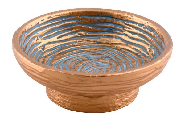 Räucherschale Metall gold-blau klein, 12cm Durchmesser