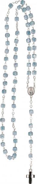 Rosenkranz gekettelt - hellblaue Glasperlen