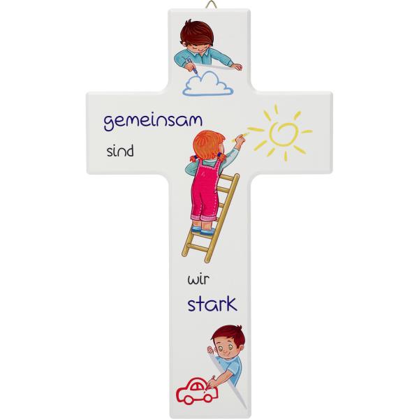 Kinderkreuz Holz, weiß, Gemeinsam sind wir stark