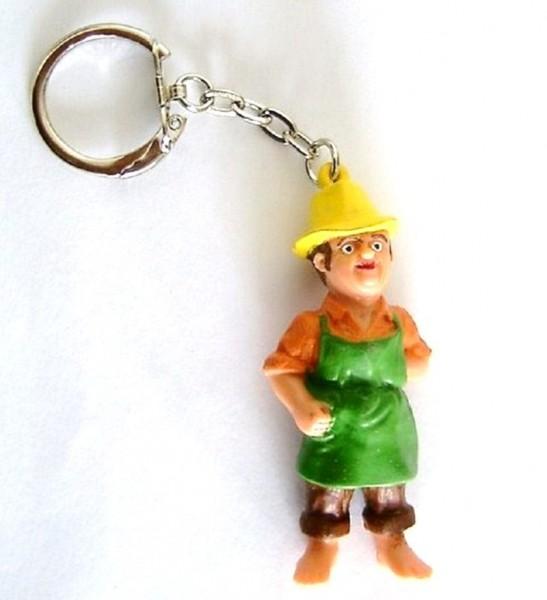 Schlüsselanhänger mit Sammelfigur Gärtner aus Plastik