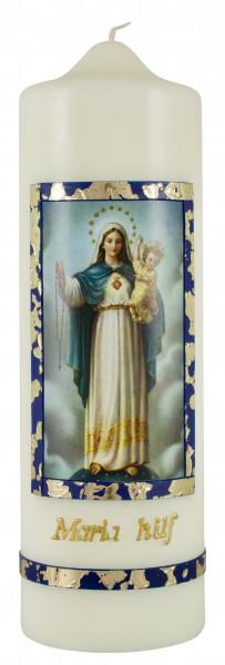 Marienkerze Maria hilf, Kerze Motiv blau/gold