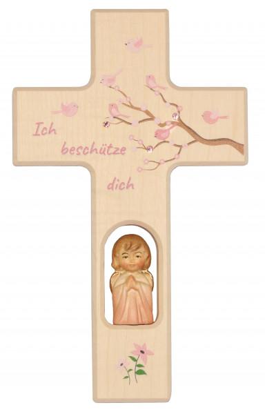 Kinderkreuz Holz mit Holzengel, Motiv Lebensbaum rosa