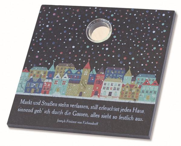 Schiefertafel m. Glasvase, bedruckt - Winterzeit