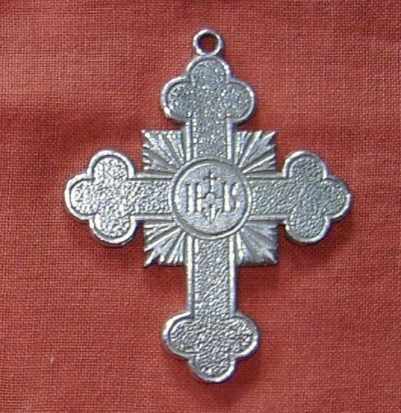 Kreuz aus Zinn IHS, Kommunionkreuz klein, Christliches Geschenk