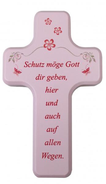Kinderkreuz Holz rosa/blau, Schutz möge Gott..rosa
