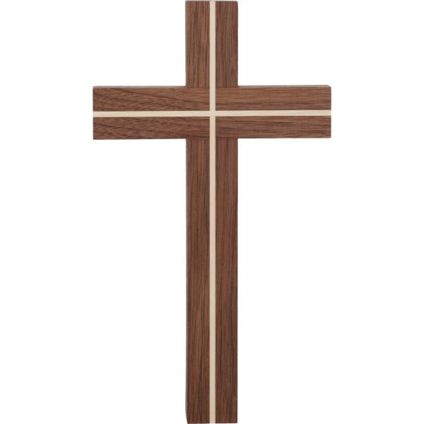 Kreuz Holz-Nussbaum, mit Einlage Ahorn