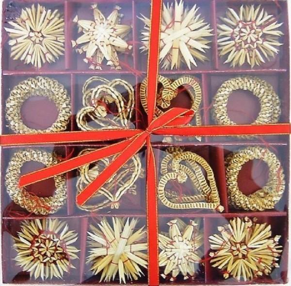 Strohsterne Box mit 62 Stück Sterne a 6cm, roter Faden