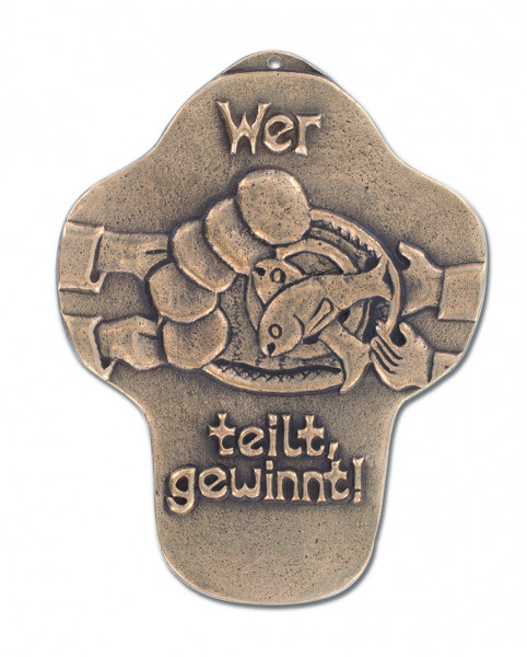 Kommunionkreuz Bronze - wer teilt gewinnt