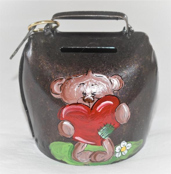 Sparglocke antik verkupfert, bemalt, Teddy mit Herz